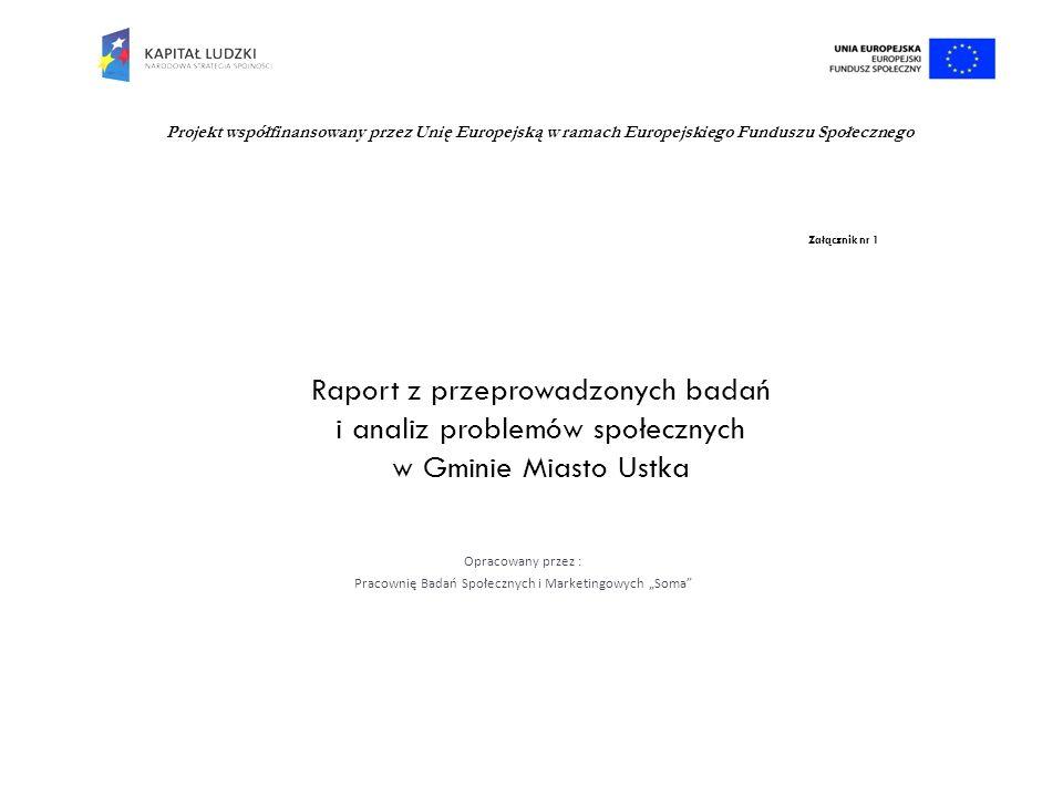 Załącznik nr 1 Raport z przeprowadzonych badań i analiz problemów społecznych w Gminie Miasto Ustka Opracowany przez : Pracownię Badań Społecznych i M