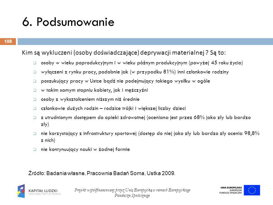 6. Podsumowanie 108 Projekt współfinansowany przez Unię Europejską w ramach Europejskiego Funduszu Społecznego Kim są wykluczeni (osoby doświadczające