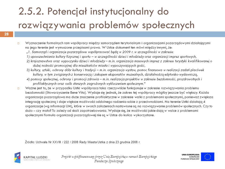 2.5.2. Potencjał instytucjonalny do rozwiązywania problemów społecznych Wyznaczenie formalnych ram współpracy między samorządem terytorialnym i organi