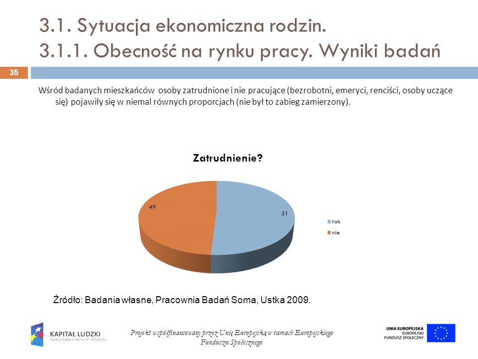 3.1. Sytuacja ekonomiczna rodzin. 3.1.1. Obecność na rynku pracy. Wyniki badań 35 Projekt współfinansowany przez Unię Europejską w ramach Europejskieg