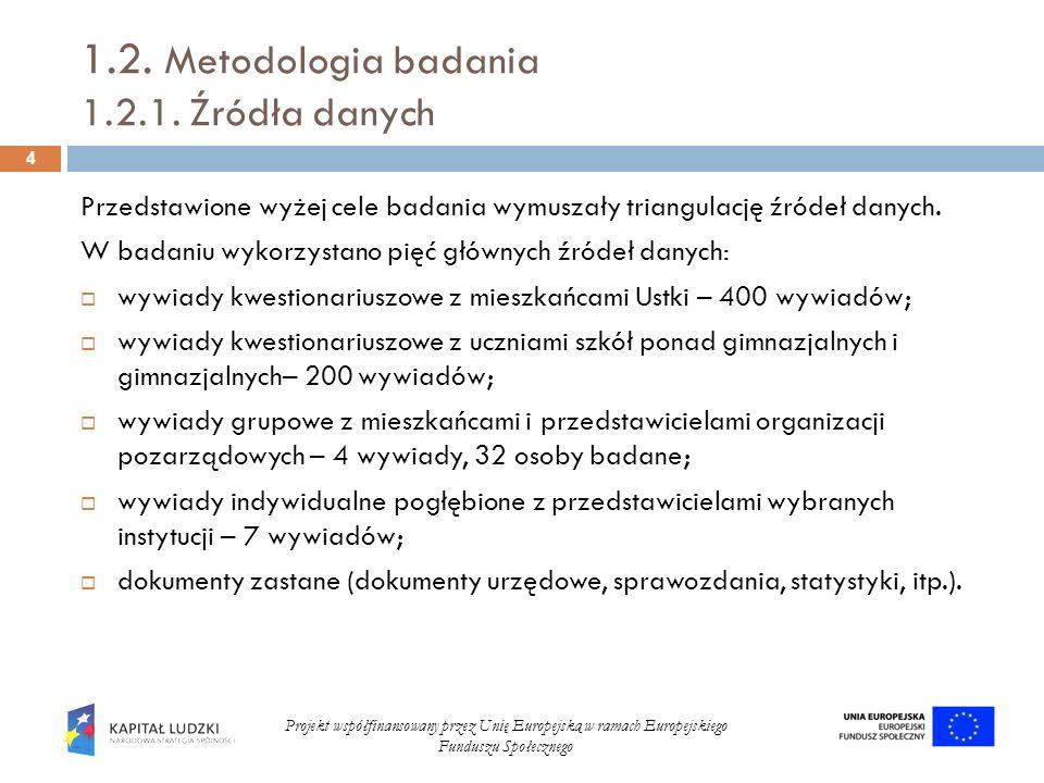 1.2. Metodologia badania 1.2.1. Źródła danych Przedstawione wyżej cele badania wymuszały triangulację źródeł danych. W badaniu wykorzystano pięć główn