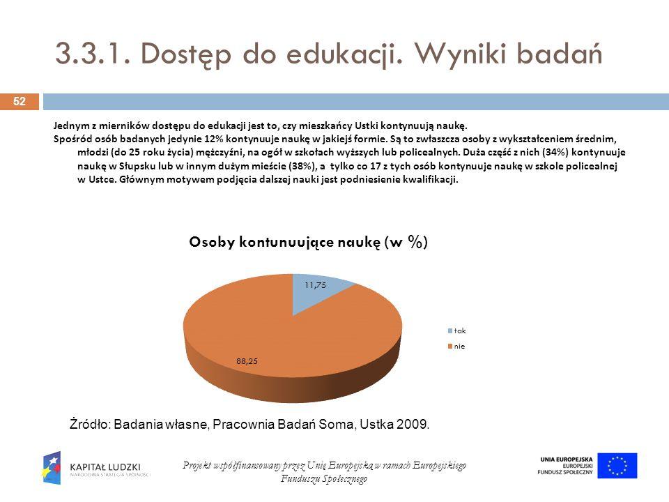 3.3.1. Dostęp do edukacji. Wyniki badań 52 Projekt współfinansowany przez Unię Europejską w ramach Europejskiego Funduszu Społecznego Jednym z miernik
