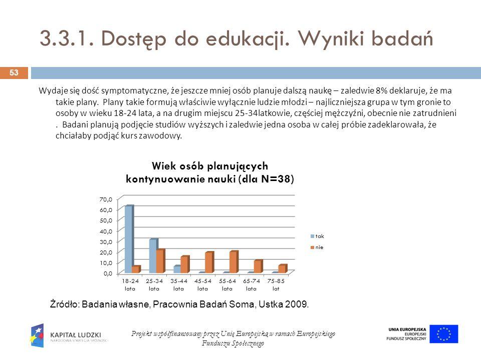 3.3.1. Dostęp do edukacji. Wyniki badań 53 Projekt współfinansowany przez Unię Europejską w ramach Europejskiego Funduszu Społecznego Wydaje się dość