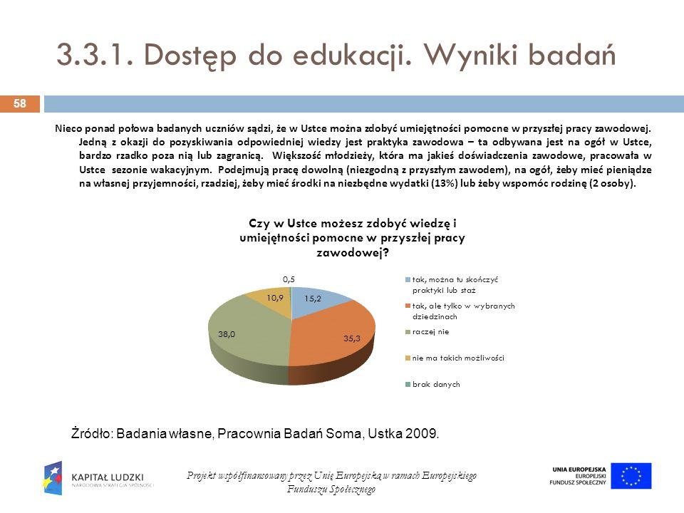 3.3.1. Dostęp do edukacji. Wyniki badań 58 Projekt współfinansowany przez Unię Europejską w ramach Europejskiego Funduszu Społecznego Nieco ponad poło