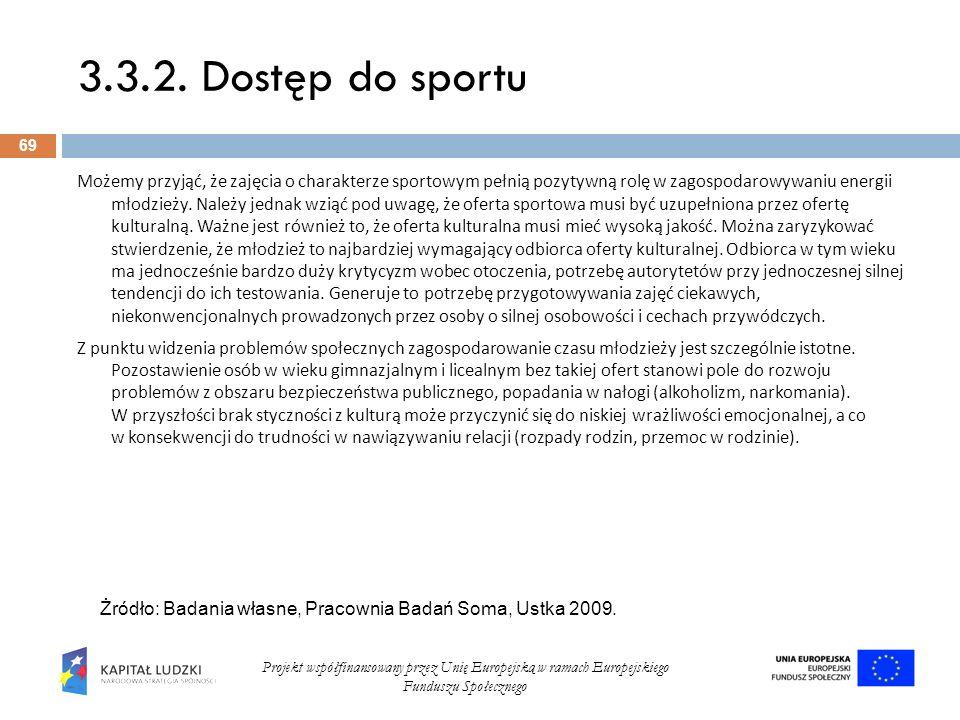 3.3.2. Dostęp do sportu 69 Projekt współfinansowany przez Unię Europejską w ramach Europejskiego Funduszu Społecznego Możemy przyjąć, że zajęcia o cha