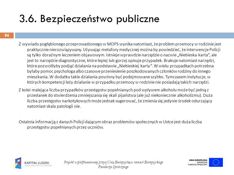 3.6. Bezpieczeństwo publiczne 84 Projekt współfinansowany przez Unię Europejską w ramach Europejskiego Funduszu Społecznego Z wywiadu pogłębionego prz