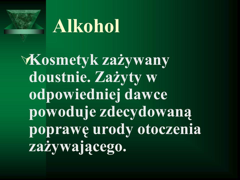 Alkohol Kosmetyk zażywany doustnie. Zażyty w odpowiedniej dawce powoduje zdecydowaną poprawę urody otoczenia zażywającego.
