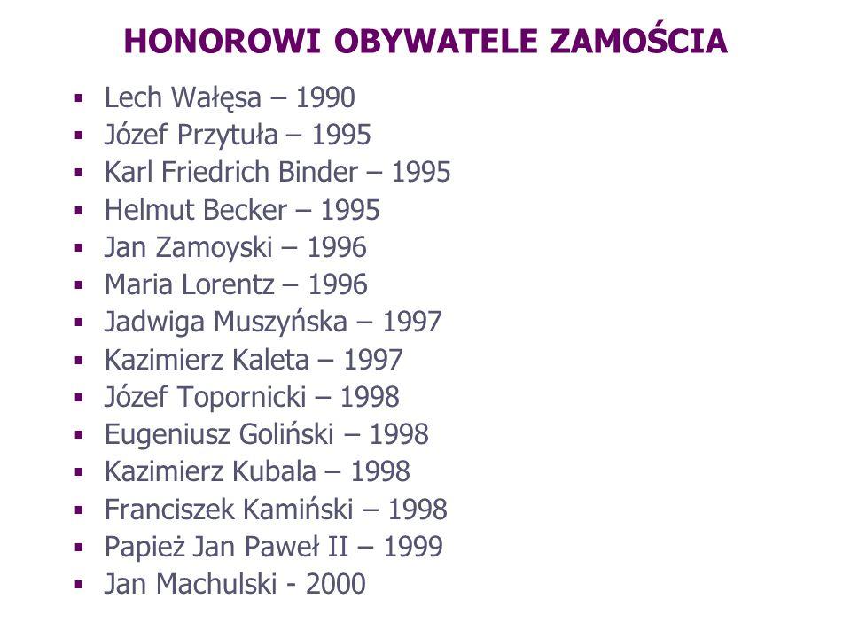 HONOROWI OBYWATELE ZAMOŚCIA Lech Wałęsa – 1990 Józef Przytuła – 1995 Karl Friedrich Binder – 1995 Helmut Becker – 1995 Jan Zamoyski – 1996 Maria Loren
