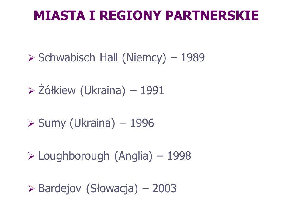 MIASTA I REGIONY PARTNERSKIE Schwabisch Hall (Niemcy) – 1989 Żółkiew (Ukraina) – 1991 Sumy (Ukraina) – 1996 Loughborough (Anglia) – 1998 Bardejov (Sło