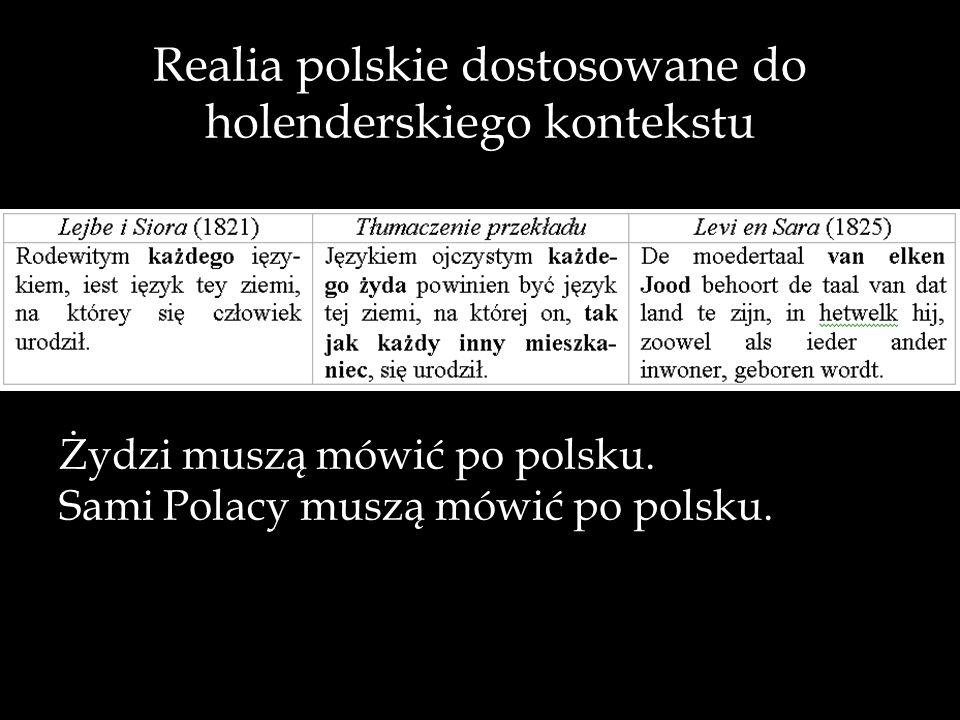 Realia polskie dostosowane do holenderskiego kontekstu Żydzi muszą mówić po polsku. Sami Polacy muszą mówić po polsku.