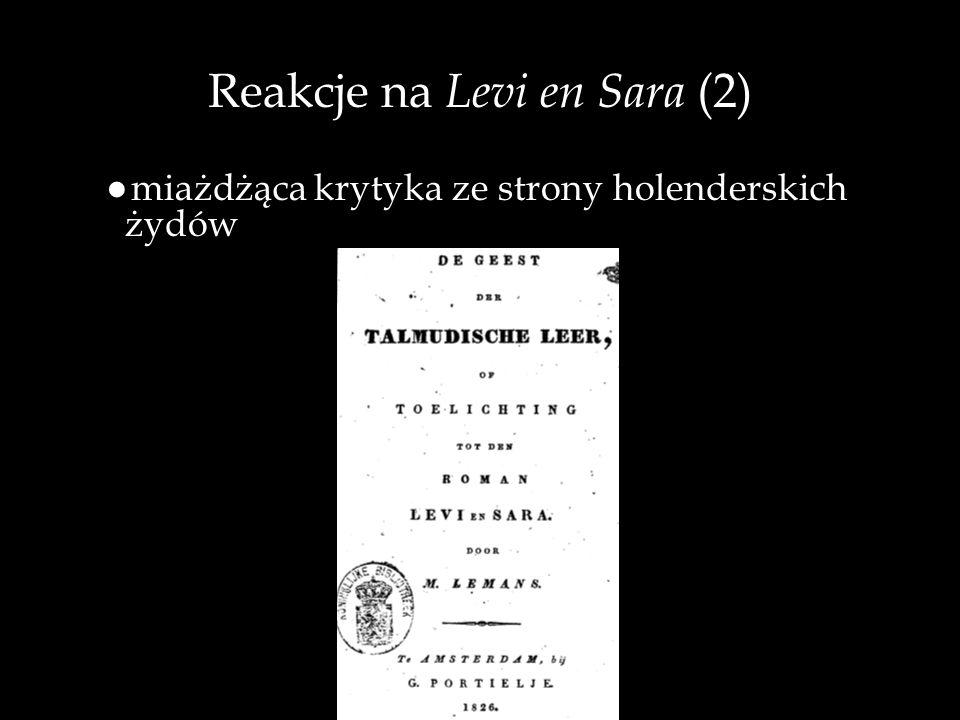 Reakcje na Levi en Sara (2) miażdżąca krytyka ze strony holenderskich żydów