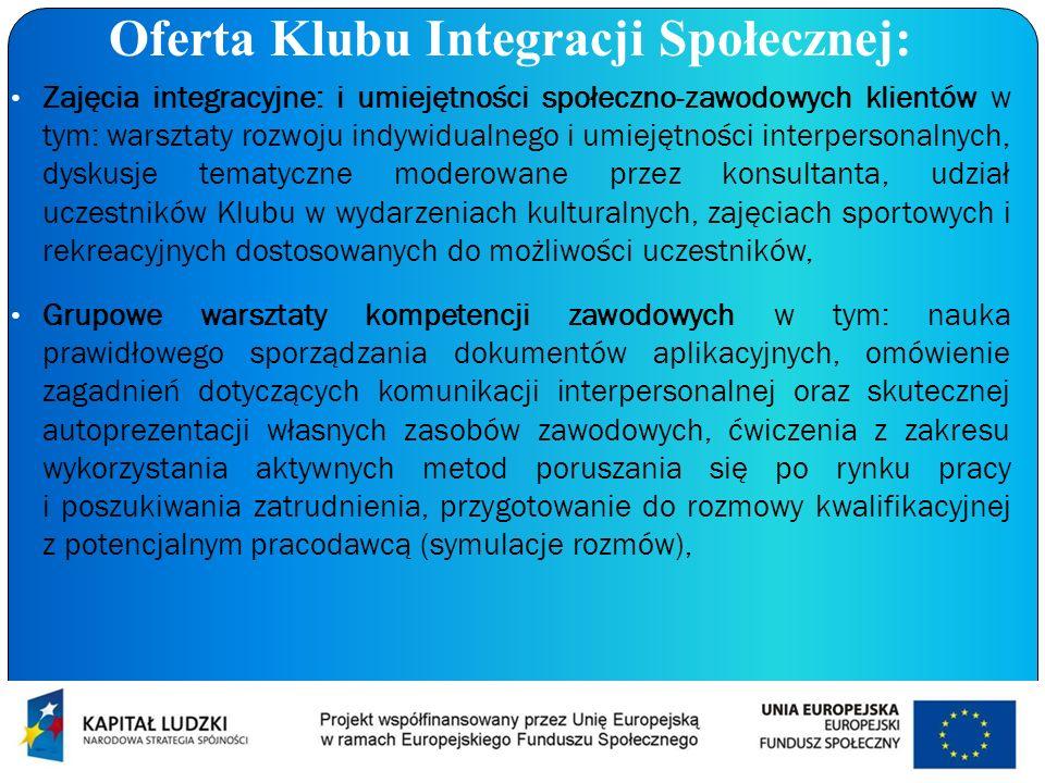Oferta Klubu Integracji Społecznej: Zajęcia integracyjne: i umiejętności społeczno-zawodowych klientów w tym: warsztaty rozwoju indywidualnego i umiej