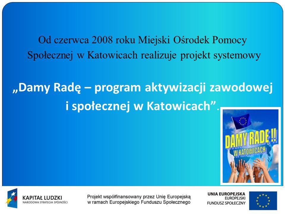 Od czerwca 2008 roku Miejski Ośrodek Pomocy Społecznej w Katowicach realizuje projekt systemowy Damy Radę – program aktywizacji zawodowej i społecznej