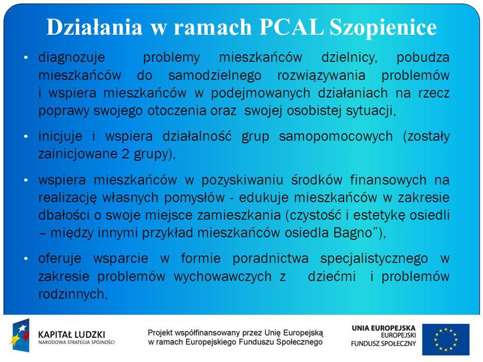 Działania w ramach PCAL Szopienice diagnozuje problemy mieszkańców dzielnicy, pobudza mieszkańców do samodzielnego rozwiązywania problemów i wspiera m