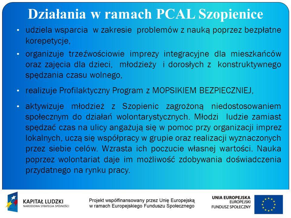 Działania w ramach PCAL Szopienice udziela wsparcia w zakresie problemów z nauką poprzez bezpłatne korepetycje, organizuje trzeźwościowie imprezy inte