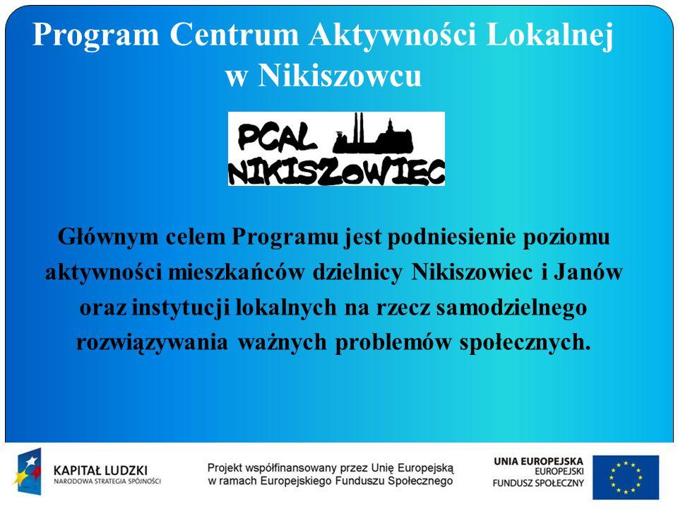 Program Centrum Aktywności Lokalnej w Nikiszowcu Głównym celem Programu jest podniesienie poziomu aktywności mieszkańców dzielnicy Nikiszowiec i Janów