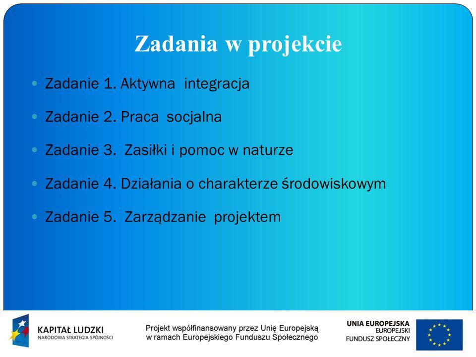 Zadania w projekcie Zadanie 1. Aktywna integracja Zadanie 2. Praca socjalna Zadanie 3. Zasiłki i pomoc w naturze Zadanie 4. Działania o charakterze śr
