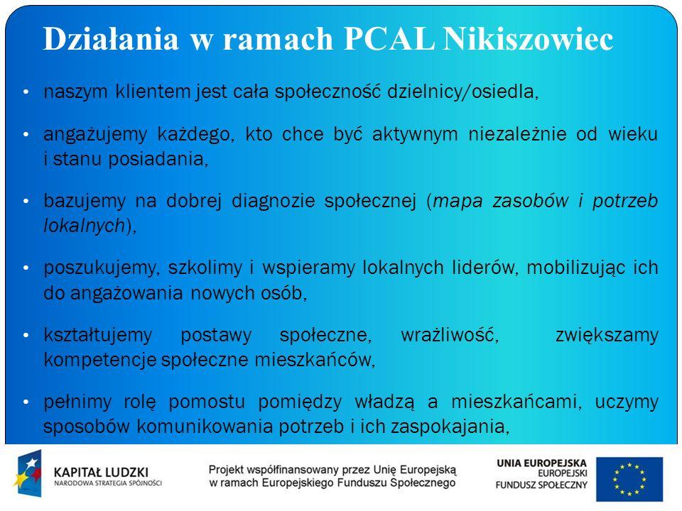 Działania w ramach PCAL Nikiszowiec naszym klientem jest cała społeczność dzielnicy/osiedla, angażujemy każdego, kto chce być aktywnym niezależnie od
