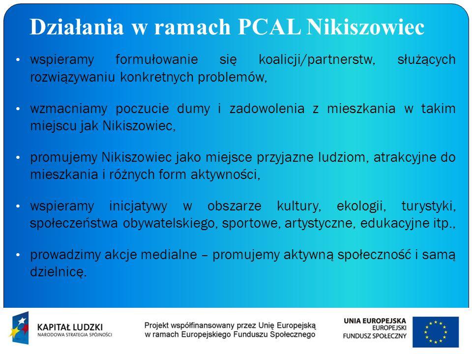 Działania w ramach PCAL Nikiszowiec wspieramy formułowanie się koalicji/partnerstw, służących rozwiązywaniu konkretnych problemów, wzmacniamy poczucie