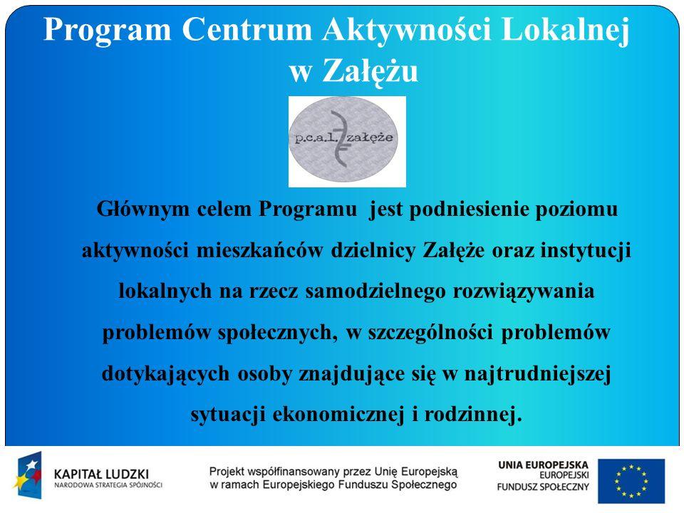 Głównym celem Programu jest podniesienie poziomu aktywności mieszkańców dzielnicy Załęże oraz instytucji lokalnych na rzecz samodzielnego rozwiązywani