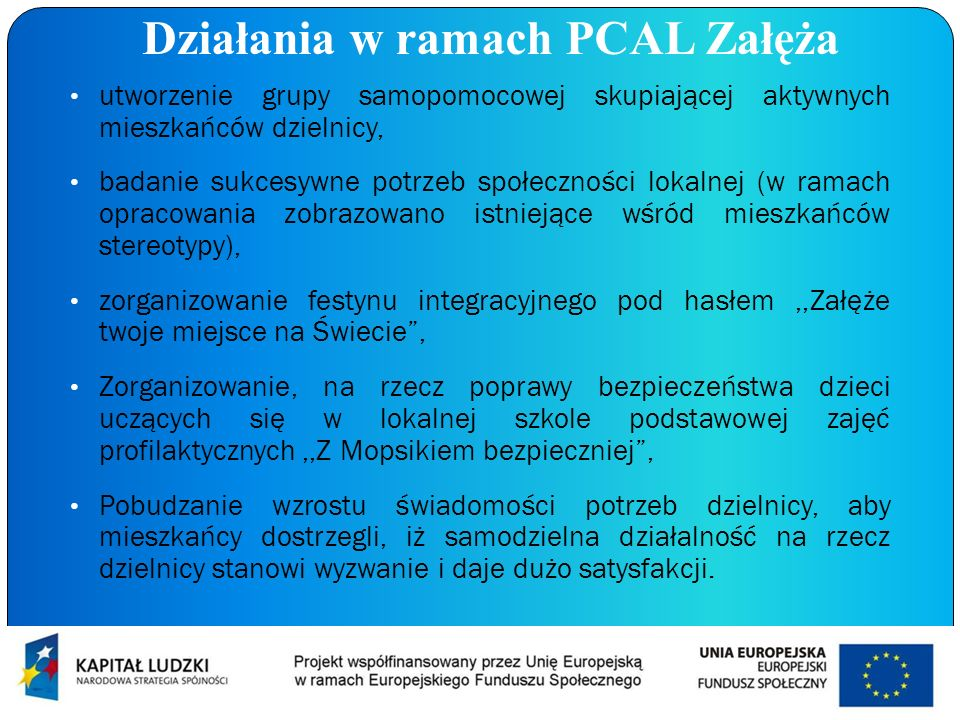 Działania w ramach PCAL Załęża utworzenie grupy samopomocowej skupiającej aktywnych mieszkańców dzielnicy, badanie sukcesywne potrzeb społeczności lok