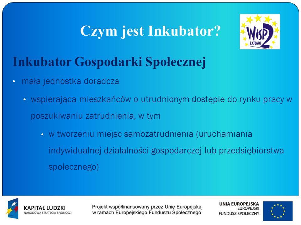 Czym jest Inkubator? Inkubator Gospodarki Społecznej mała jednostka doradcza wspierająca mieszkańców o utrudnionym dostępie do rynku pracy w poszukiwa