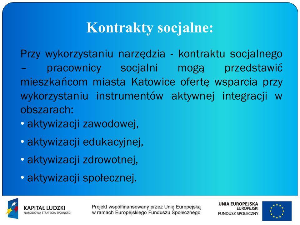 Kontrakty socjalne: Przy wykorzystaniu narzędzia - kontraktu socjalnego – pracownicy socjalni mogą przedstawić mieszkańcom miasta Katowice ofertę wspa