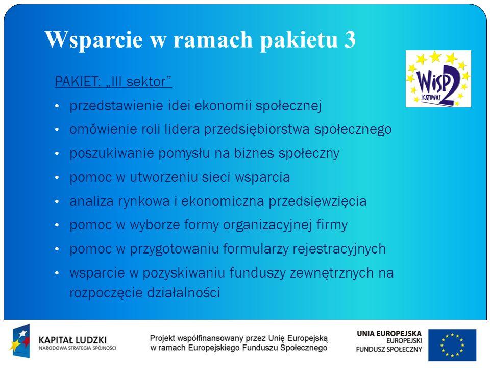 Wsparcie w ramach pakietu 3 PAKIET: III sektor przedstawienie idei ekonomii społecznej omówienie roli lidera przedsiębiorstwa społecznego poszukiwanie