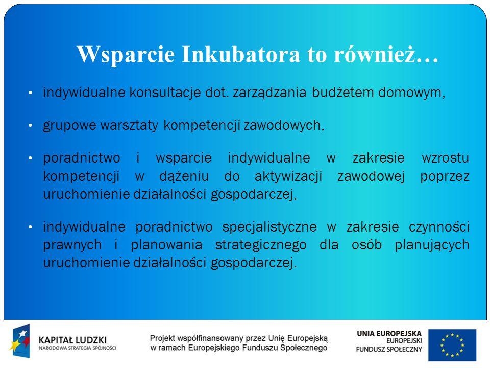 Wsparcie Inkubatora to również… indywidualne konsultacje dot. zarządzania budżetem domowym, grupowe warsztaty kompetencji zawodowych, poradnictwo i ws