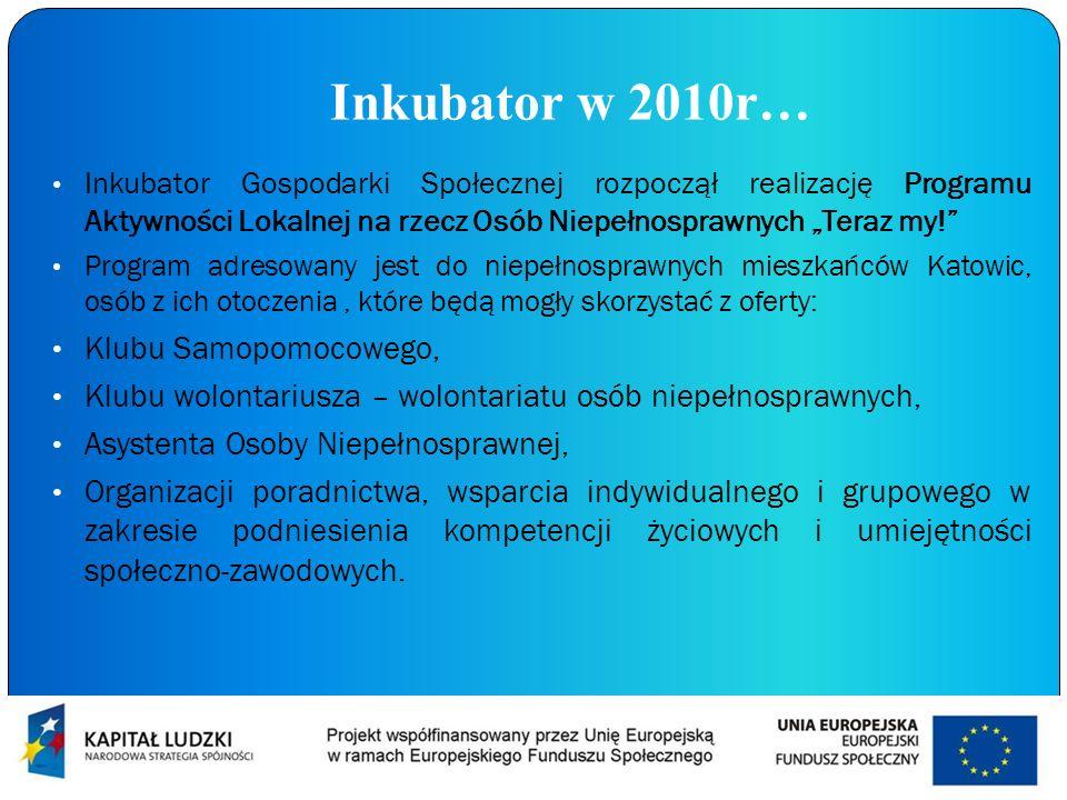Inkubator w 2010r… Inkubator Gospodarki Społecznej rozpoczął realizację Programu Aktywności Lokalnej na rzecz Osób Niepełnosprawnych Teraz my! Program