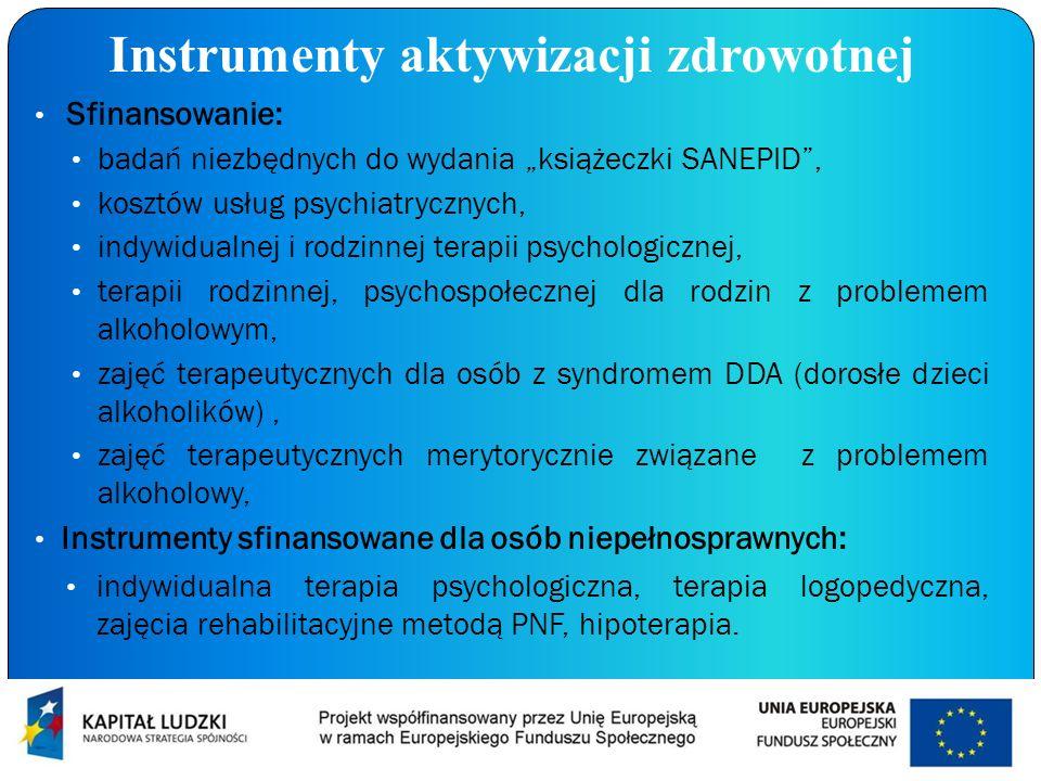 Instrumenty aktywizacji zdrowotnej Sfinansowanie: badań niezbędnych do wydania książeczki SANEPID, kosztów usług psychiatrycznych, indywidualnej i rod