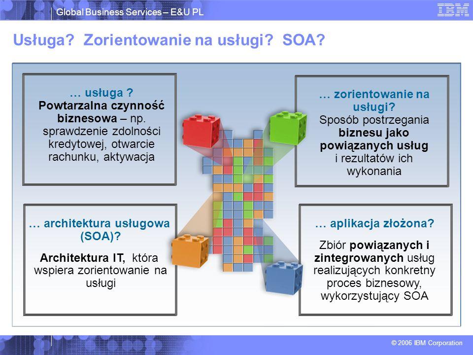 Global Business Services – E&U PL © 2006 IBM Corporation … usługa ? Powtarzalna czynność biznesowa – np. sprawdzenie zdolności kredytowej, otwarcie ra