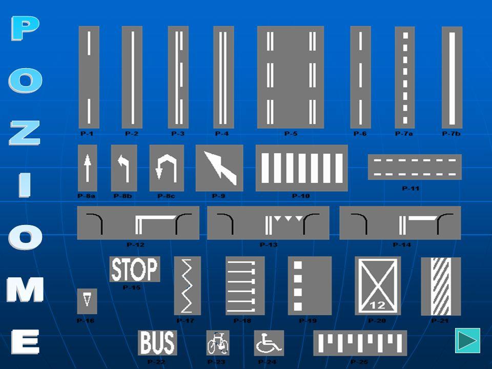 Znaki poziome są malowane na jezdni w postaci pasów, strzałek, napisów, symboli.W swoim znaczeniu usprawniają ruch na drodze oraz powtarzają informacj