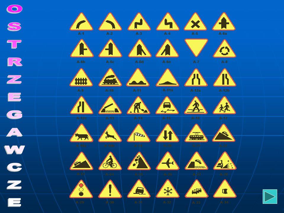 OSTRZEGAWCZE Znaki ostrzegawcze uprzedzają o miejscach, w których na drodze może występować niebezpieczeństwo i zobowiązują do zachowania ostrożności