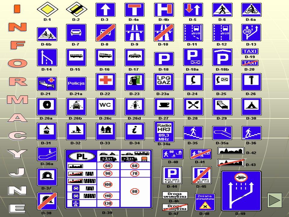 INFORMACYJNE Znaki informacyjne podają informacje niezbędne nieraz dla kierujących pojazdami. Posiadają na ogół niebieską kolorystykę i kształt prosto