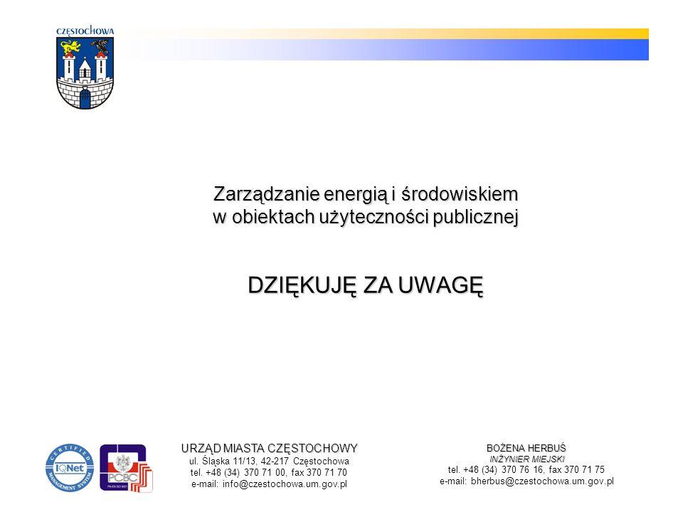 BOŻENA HERBUŚ INŻYNIER MIEJSKI tel. +48 (34) 370 76 16, fax 370 71 75 e-mail: bherbus@czestochowa.um.gov.pl Zarządzanie energią i środowiskiem w obiek