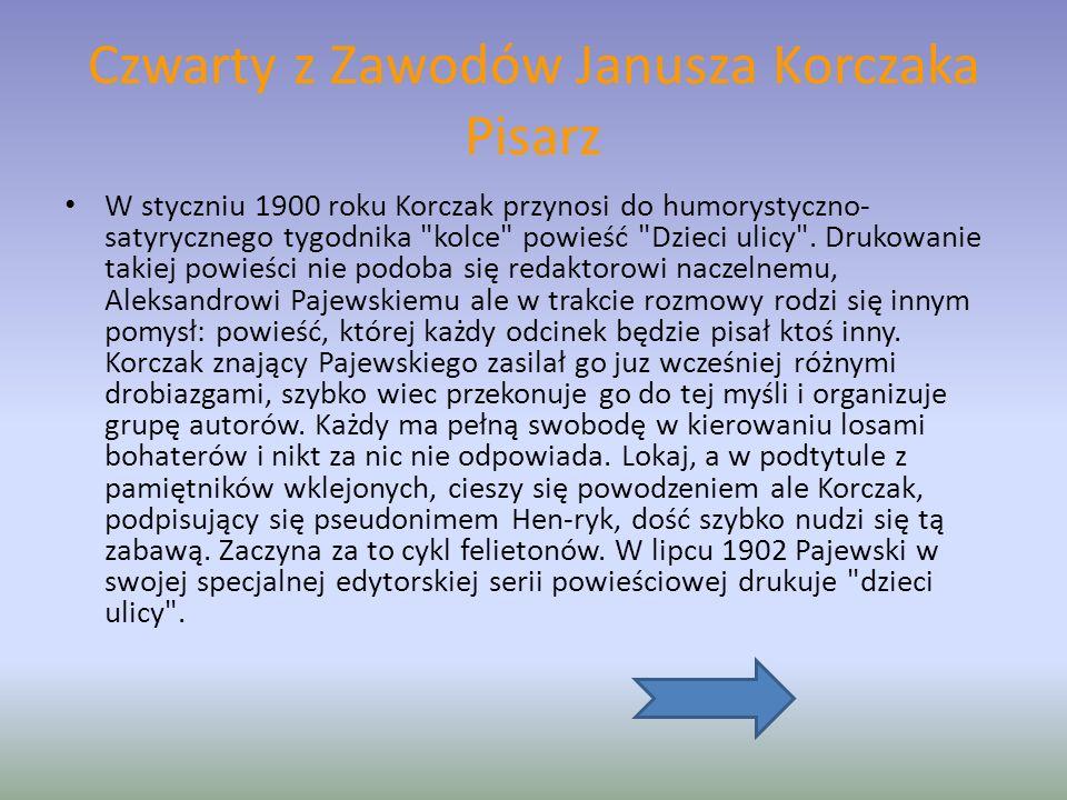 Czwarty z Zawodów Janusza Korczaka Pisarz W styczniu 1900 roku Korczak przynosi do humorystyczno- satyrycznego tygodnika kolce powieść Dzieci ulicy .