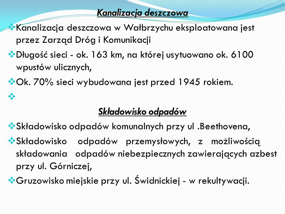 Eksploatacją sieci wodociągowej i kanalizacji sanitarnej na terenie Wałbrzycha zajmuje się Wałbrzyskie Przedsiębiorstwo Wodociągów i Kanalizacji Sp. z