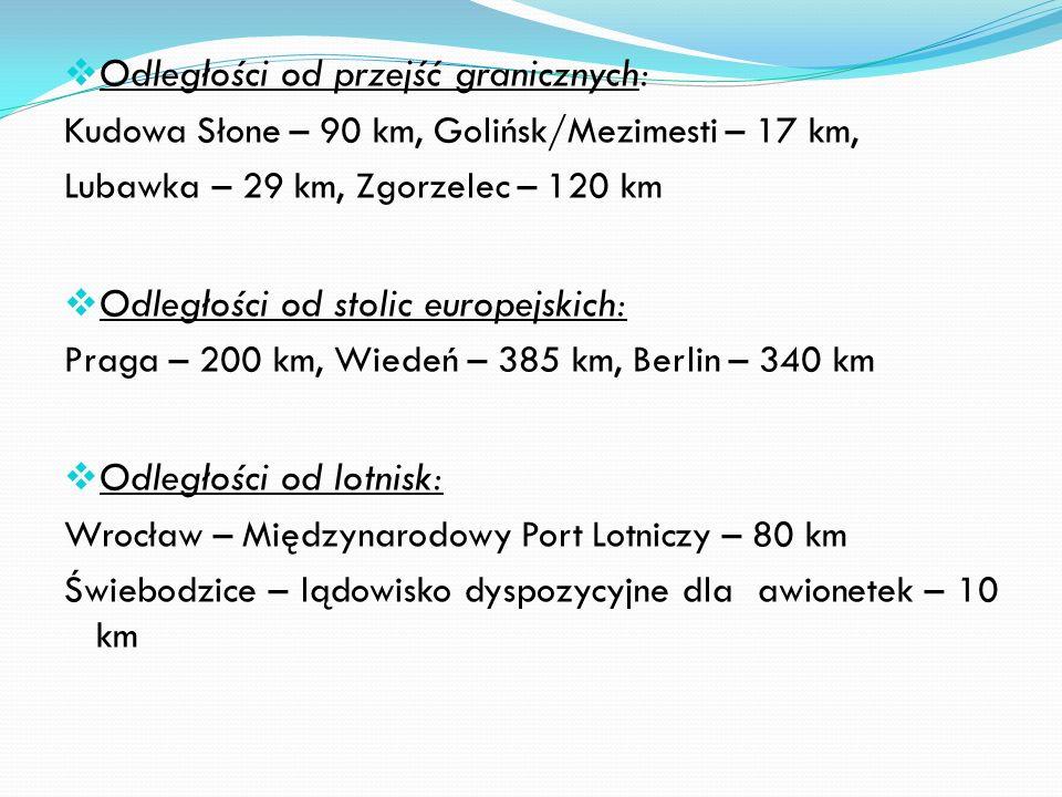 Odległości od przejść granicznych: Kudowa Słone – 90 km, Golińsk/Mezimesti – 17 km, Lubawka – 29 km, Zgorzelec – 120 km Odległości od stolic europejskich: Praga – 200 km, Wiedeń – 385 km, Berlin – 340 km Odległości od lotnisk: Wrocław – Międzynarodowy Port Lotniczy – 80 km Świebodzice – lądowisko dyspozycyjne dla awionetek – 10 km