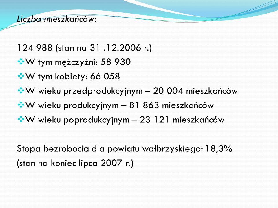 Liczba mieszkańców: 124 988 (stan na 31.12.2006 r.) W tym mężczyźni: 58 930 W tym kobiety: 66 058 W wieku przedprodukcyjnym – 20 004 mieszkańców W wieku produkcyjnym – 81 863 mieszkańców W wieku poprodukcyjnym – 23 121 mieszkańców Stopa bezrobocia dla powiatu wałbrzyskiego: 18,3% (stan na koniec lipca 2007 r.)