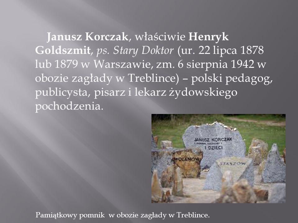 Obrazek przedstawia drogę na śmierć Korczaka i dzieci.