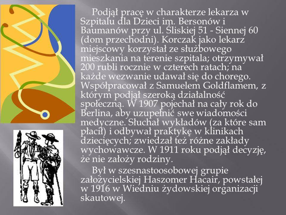 Razem ze Stefanią Wilczyńską założył i prowadził Dom Sierot dla dzieci żydowskich w Warszawie przy ul.