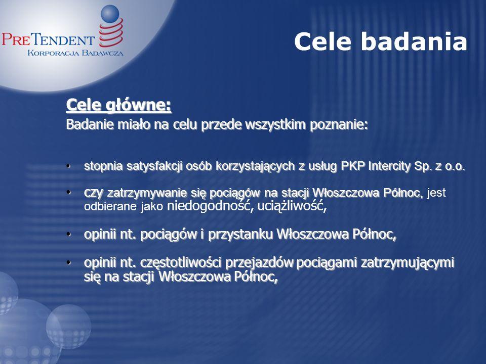 Cele badania Cele główne: Badanie miało na celu przede wszystkim poznanie: stopnia satysfakcji osób korzystających z usług PKP Intercity Sp. z o.o.sto
