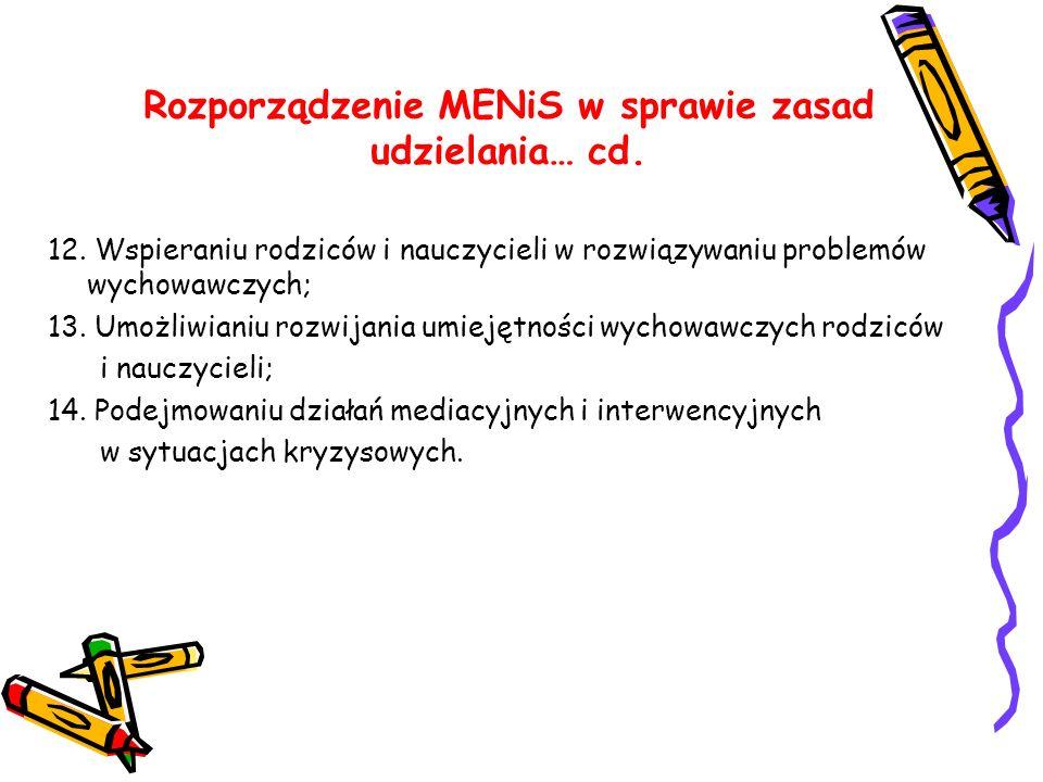 Rozporządzenie MENiS w sprawie zasad udzielania… cd. 12. Wspieraniu rodziców i nauczycieli w rozwiązywaniu problemów wychowawczych; 13. Umożliwianiu r