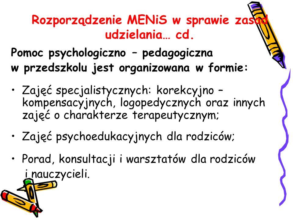 Rozporządzenie MENiS w sprawie zasad udzielania… cd. Pomoc psychologiczno – pedagogiczna w przedszkolu jest organizowana w formie: Zajęć specjalistycz