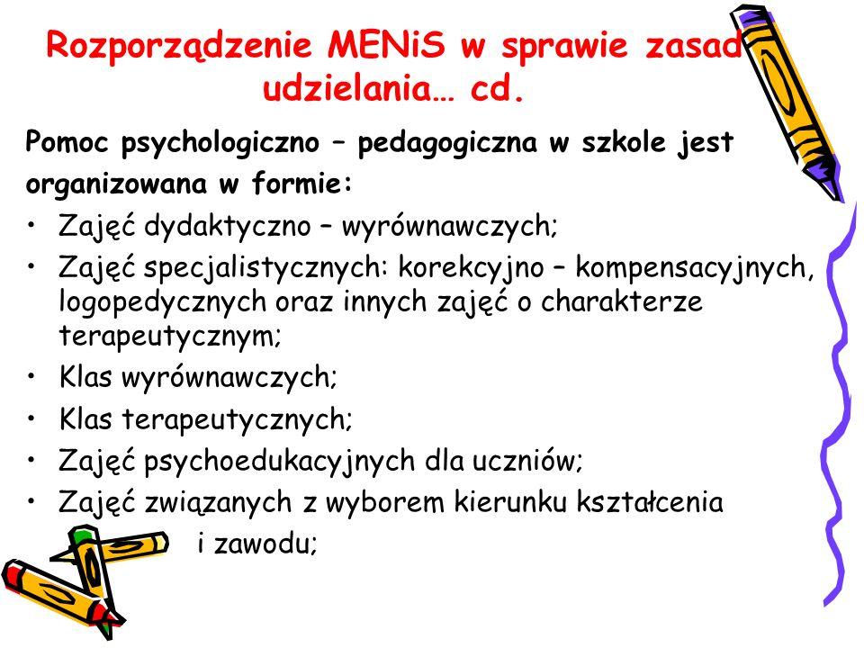 Rozporządzenie MENiS w sprawie zasad udzielania… cd. Pomoc psychologiczno – pedagogiczna w szkole jest organizowana w formie: Zajęć dydaktyczno – wyró