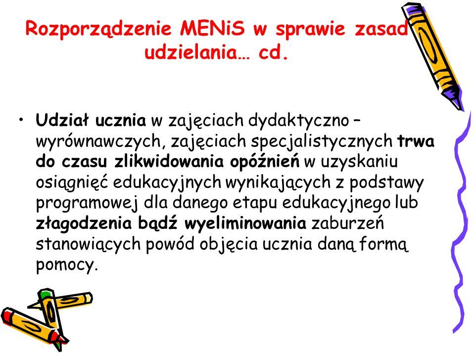 Rozporządzenie MENiS w sprawie zasad udzielania… cd. Udział ucznia w zajęciach dydaktyczno – wyrównawczych, zajęciach specjalistycznych trwa do czasu
