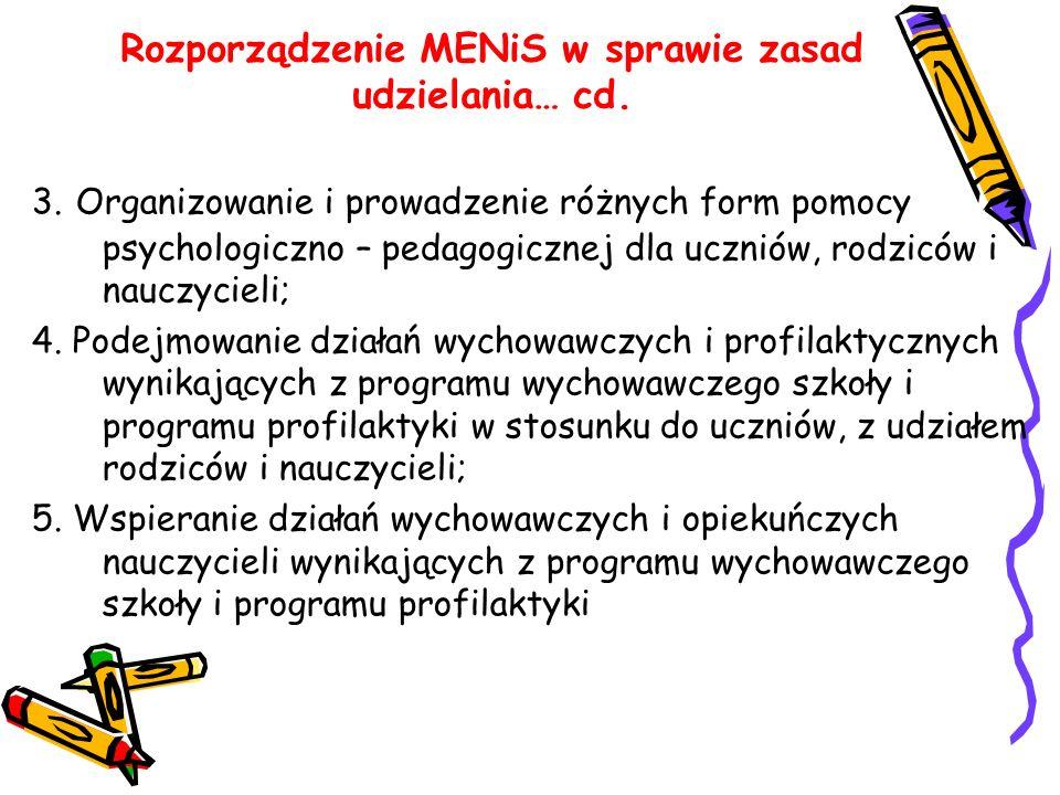Rozporządzenie MENiS w sprawie zasad udzielania… cd. 3. Organizowanie i prowadzenie różnych form pomocy psychologiczno – pedagogicznej dla uczniów, ro