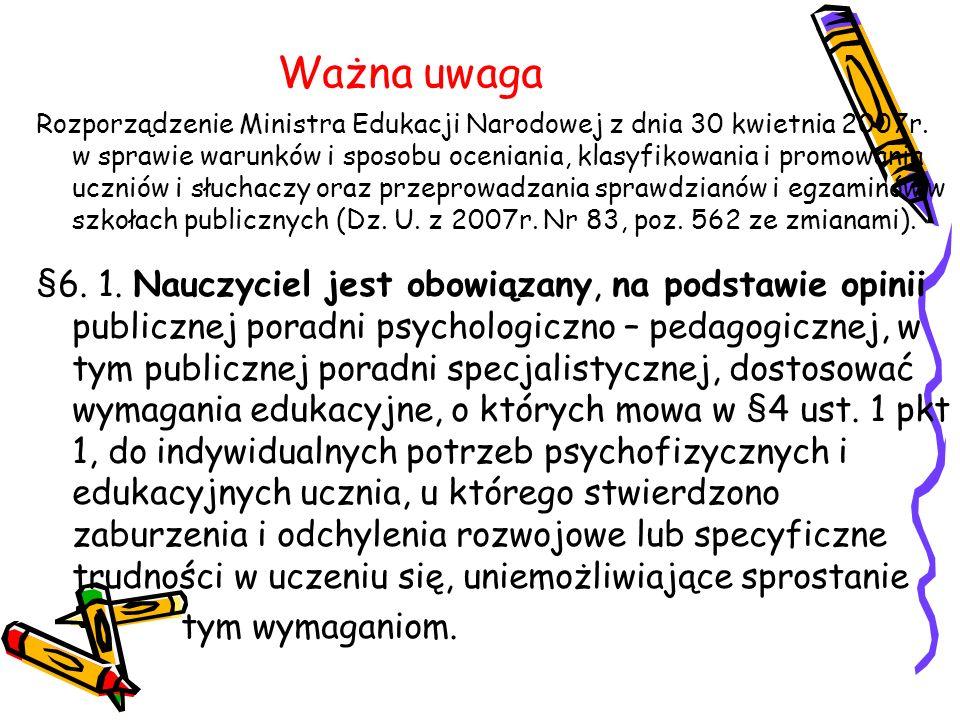 Ważna uwaga Rozporządzenie Ministra Edukacji Narodowej z dnia 30 kwietnia 2007r. w sprawie warunków i sposobu oceniania, klasyfikowania i promowania u