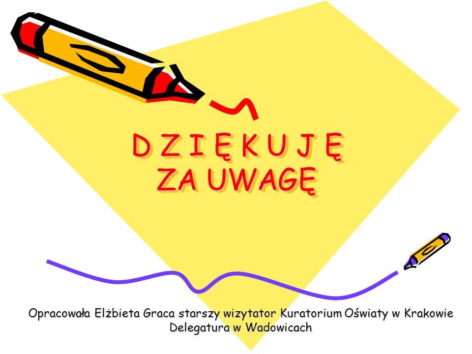 D Z I Ę K U J Ę ZA UWAGĘ Opracowała Elżbieta Graca starszy wizytator Kuratorium Oświaty w Krakowie Delegatura w Wadowicach